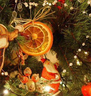 Украшение мандаринами на новый год