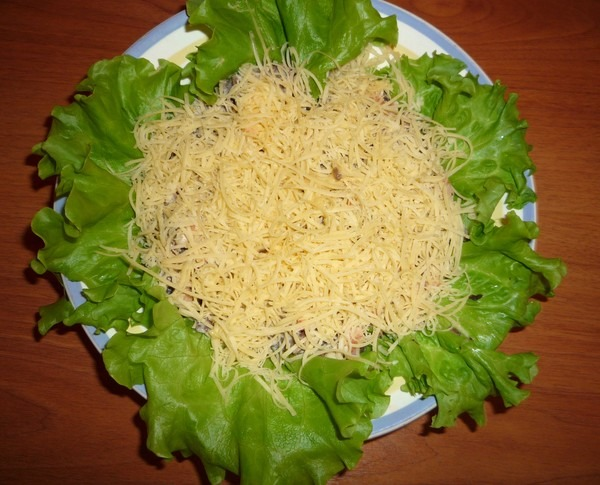 тертый сыр на листьях салата
