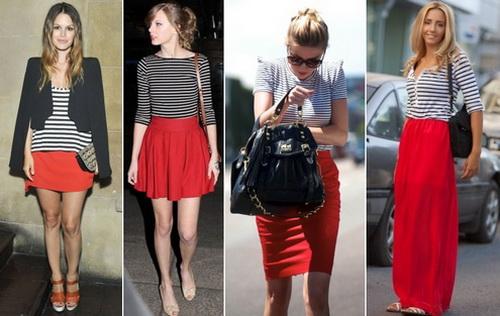 Красная юбка с тельняшкой