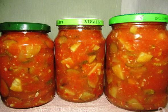 огурцы в заливке томатной
