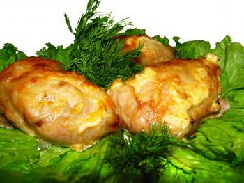 Фаршированные куриные окорочка сыром